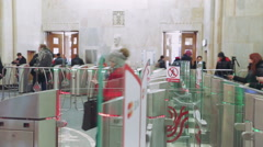 People Pass Through the Turnstiles Underground Station Russia Stock Footage