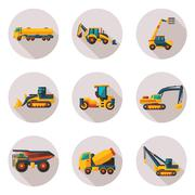 construction equipment flat icons - stock illustration