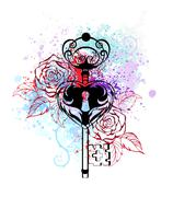 Key with roses Stock Illustration