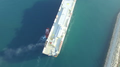 Aerial view of cargo ship entering the port in Bar city Stock Footage