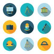 Flat icons architect Stock Illustration