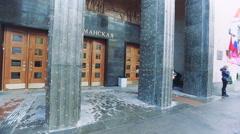 The Monumental Entrance to the Subway Baumanskaya Metro Underground Station Stock Footage