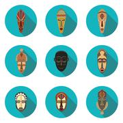 flat icons of African masks - stock illustration