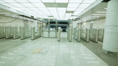 Pass Through the Turnstiles Unser Construction Baumanskaya Metro Underground Stock Footage