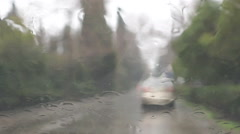 Bad weather and rain drops  on the windshield Stock Footage