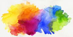 rainbow colored watercolor paints isolated on paper - stock illustration