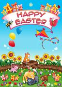 Happy Easter card with funny cats and eggs - stock illustration
