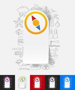 compass paper sticker with hand drawn elements - stock illustration