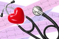 Heart analysis, electrocardiogram graph (ECG), red heart and stethoscope Kuvituskuvat