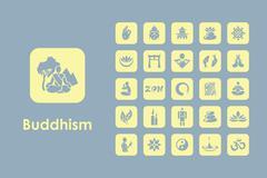 Set of buddhism simple icons Stock Illustration