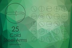 Set of cold arms icons - stock illustration