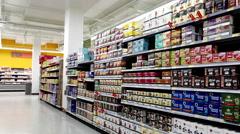 Beverages corridor in Walmart store with 4k resolution - stock footage