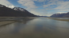 Aerial Upriver Tidal Flats Chilkat River 4K Stock Footage