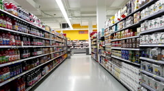 Beverages corridor in Walmart store Stock Footage