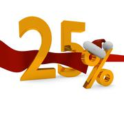 25 percent Christmas discount - stock illustration