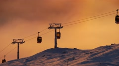 Beautiful View Of Are Sweden Cable Car Passing By Sunset Colors Sun Flare Summer Stock Footage