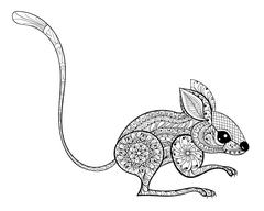 Hand drawn zentangled mouse totem for antistress Coloring Page w Stock Illustration