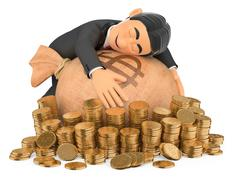 3D Tuxedo rich man hugging his money Stock Illustration