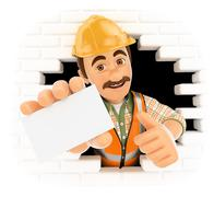 3D Worker coming out a wall hole with a blank card - stock illustration