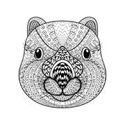 Hand drawn tribal Wombat face, animal totem for adult Coloring P Stock Illustration