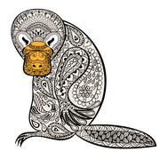 Zentangle Australian platypus totem for adult anti stress Colori Stock Illustration