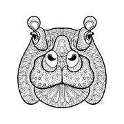 Hand drawn tribal hippopotamus head, animal totem for adult Colo Stock Illustration