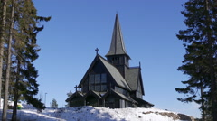 Holmenkollen chapel oslo norway front pan right to left Stock Footage