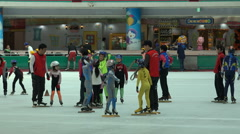 Training session short track speed skating, kids practice, South Korea sports Stock Footage