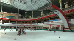 Ice rink, speed skating short track, popular sport in South Korea Stock Footage