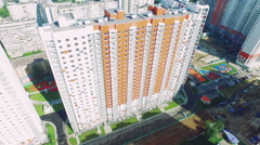 New Residental Building Appartments Aerial View Summer Moscow Stock Footage