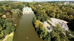 Great aerial view of Lazienki Park ( Lazienki Krolewskie ) in Warsaw, Poland Stock Footage