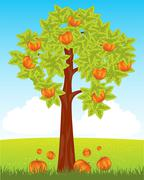 Aple tree with red apple - stock illustration