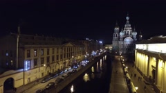 Aerial shot of city at night Stock Footage