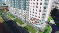 New Residental Area New Buildings Moscow Summer Day, Aerial View Stock Footage