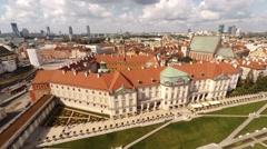 Beautiful aerial view of The Royal Castle ( Zamek Krolewski ) Stock Footage