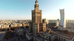 Aerial View Of Palac Kultury I Nauki And Zlota 44 Skyscraper Warsaw Poland Stock Footage
