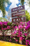 Sign Salida Exit with arrow - stock photo