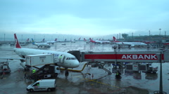 Airport staff working outdoors. Istanbul, Turkey Stock Footage