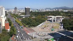 Olympic Park in Seoul, venue of the 1988 Olympics in South Korea - stock footage