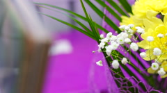 Beautiful bright flowers in bouquet roses, chrysanthemum Stock Footage