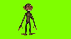 Funny cartoon monkey dancing against a green background. Seamless loop animation Stock Footage