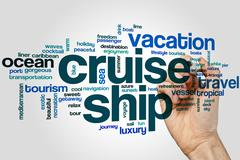 Cruise ship word cloud - stock photo