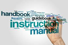 Instruction manual word cloud concept Stock Photos