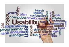 Usability user project application concept background Stock Photos