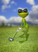 Illustration frog golfer on a green lawn - stock illustration