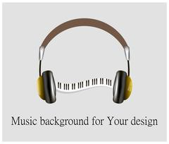 musical instrument synthesizer and headphones. Piano keys - stock illustration
