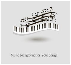 Black and white piano keys and music notes vector illustration Stock Illustration