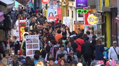 Busy shopping street in Seoul, entertainment, crowds, tourism South Korea Stock Footage
