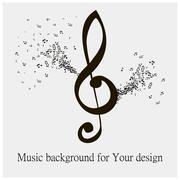 black music note - stock illustration