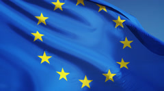 European Union flag in slow motion seamlessly looped with alpha - stock footage